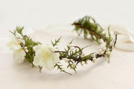 Woodland Floral Crown Fern Bohemian Rustic crown by rosesandlemons, $55.00