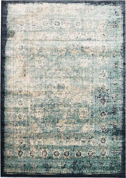Add style and luxury with our Beliz Light Blue Beige Navy Blue Border Transitional Patterned Rug
