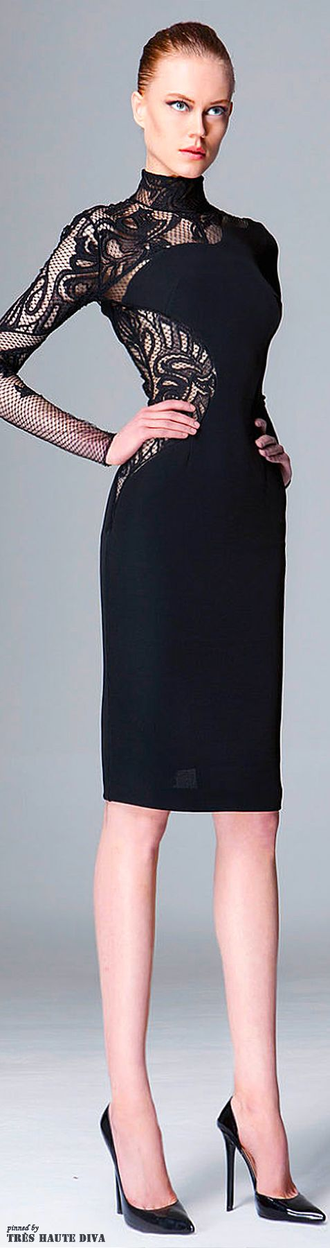 Zuhair Murad Pre-Fall 2014 black cocktail dress with lace inserts