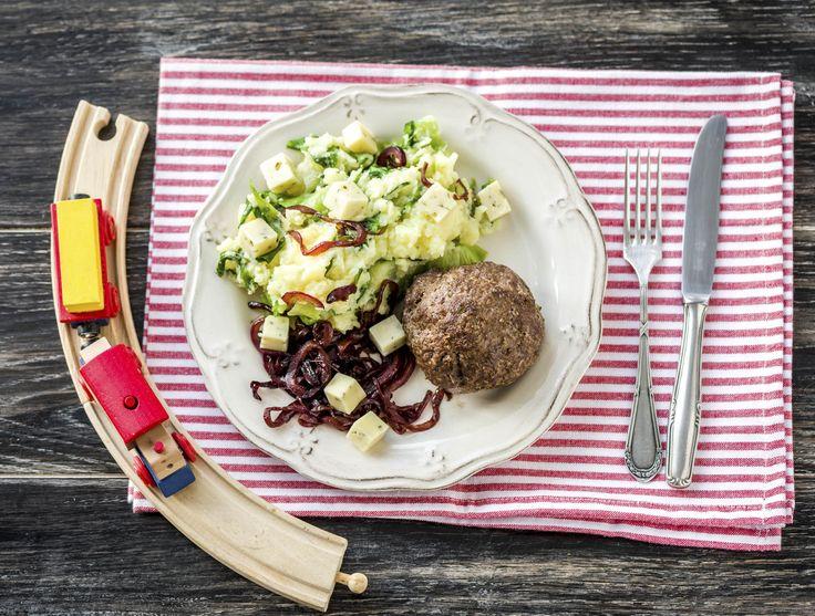 Duitse biefstuk met andijviestamppot