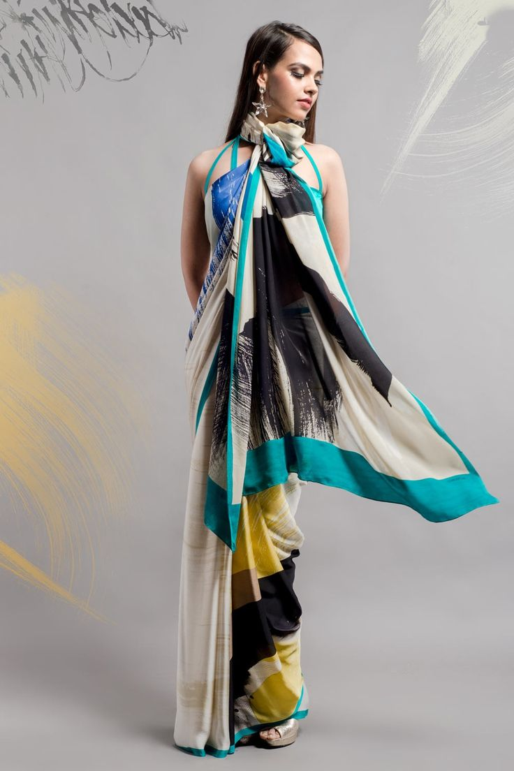 Distressed Brush Stroke Saree from #SatyaPaul