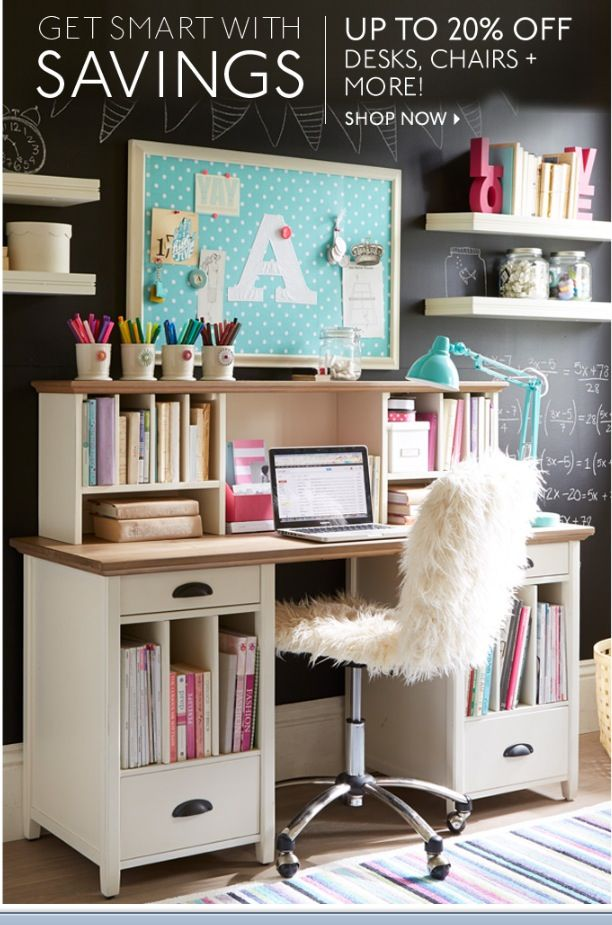 musing teenage girls study room design ideas with stands free white wooden desk and open bookshelves built in over black chalkboard wall paint