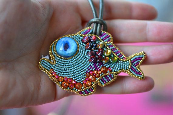 Turquoise Casual Fishie Necklace bead embroidered by crimsonfrog