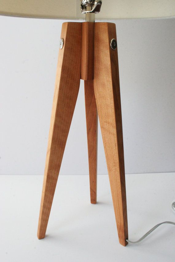 Table Lamp Tripod Slim Cherry American by naturalgrain on Etsy