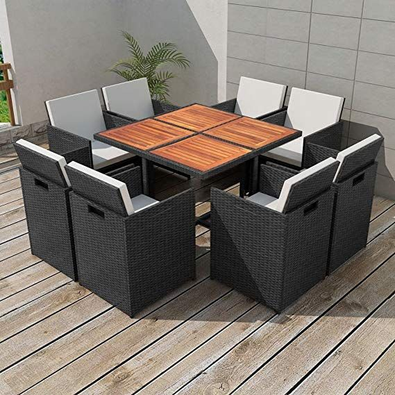 Chloe Rossetti Outdoor Furniture Outdoor Dining Set 25 Pieces Black Poly Rattan Table Dimensions Outdoor Dining Set Rattan Garden Furniture Sets Outdoor Dining
