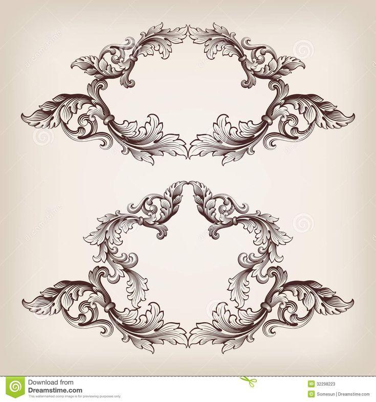 frame tattoo designs. Vintage Frame Tattoo Designs. Contemporary Vector Set  Border Baroque Filigree Engraving With Designs A