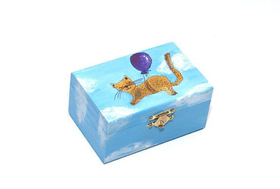 Cat jewelry box - Wooden keepsake box - Hand painted box - Wooden box with lid painted - Trinket box - Girls jewelry box - Wood jewelry storage box