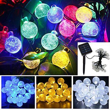 4.8m 20-ledede solenergi boble ball vanntett string lys hage julebord dekorasjon 2015 – €219.00