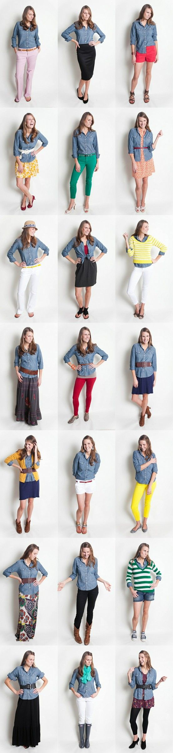 21 ways to wear your denim/jean/chambray shirt - love the burnt yellow cami over the denim shirt!!