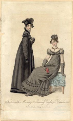 Morning and evening dresses, Winter 1818 :: Fashion Plate Collection, 19th Century