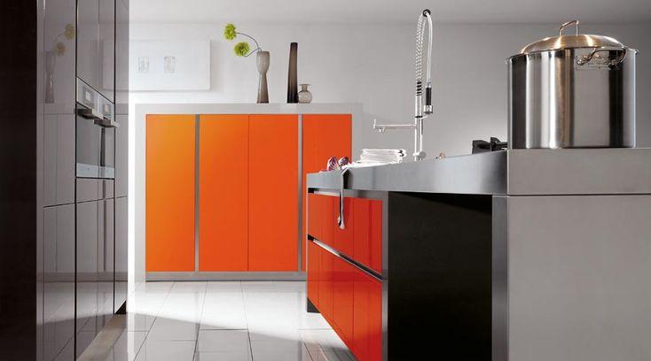 Best 18 Inspiring Orange Kitchen Design Ideas : Grifflos Exquisite White and Orange Kitchen with Modern Kitchen Island and Orange Cabinet