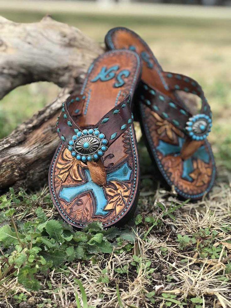 Tooled Leather Western Inspired Shoes For Summer Leder Schuhe