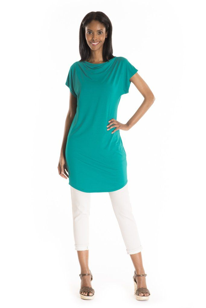 The Chamerion Tunic - women's spring summer fashion turquoise bamboo jersey tunic