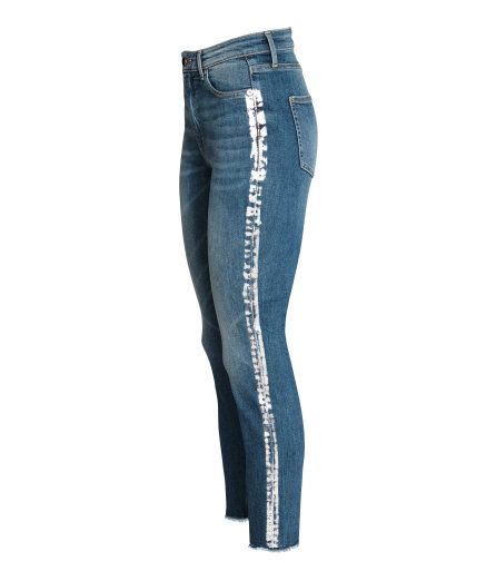 Check this out! 5-pocket, slim-fit, ankle-length jeans in washed stretch denim with distressed details. High waist and zip fly with button. - Visit hm.com to see more.