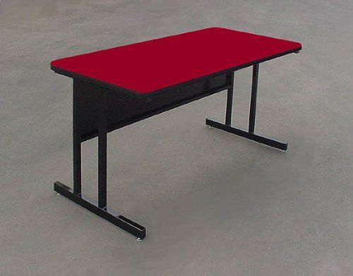 """24 x 60 Computer Work Station - Red (Red) (26""""H x 60""""W x 24""""D) by Correll. $369.00. 1 1/4"""" High Pressure Plastic Surface. This workstation comes with a modesty panel, and two holes for wire management.. Size: 26""""H x 60""""W x 24""""D. Color: Red. Sturdy all steel frame.. Bring a colorful accent to your day with this red computer workstation! This desk measures 24"""" x 60"""", and is 26"""" high. Thanks to this spacious surface you'll have plenty of room for your computer, keyboard..."""