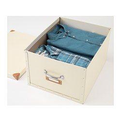 IKEA - ФЬЕЛЛА, Коробка с крышкой, белый с оттенком, , Подходит для хранения объемных вещей: одеял, подушек или игр.Легко выдвигать и поднимать благодаря ручкам.Окошко для этикетки для организации хранения и быстрого поиска нужной вещи.