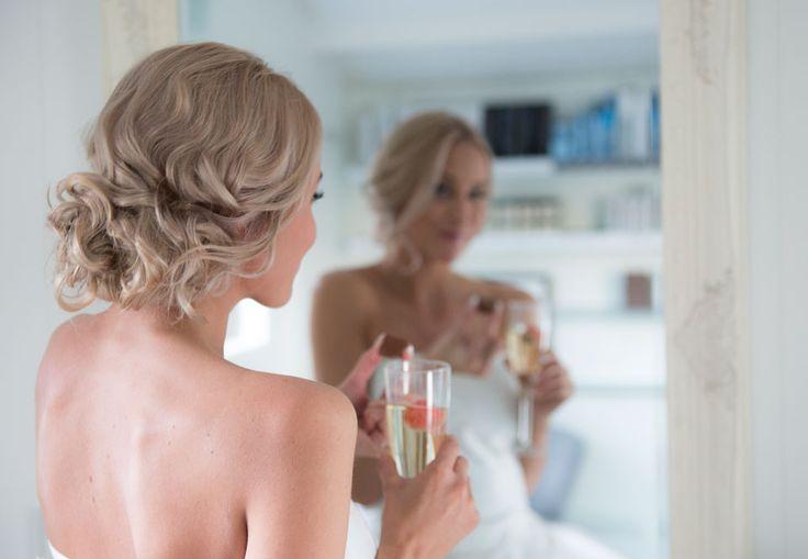 Brud, håroppsetting,frisyre, speil, jordbær, champagne