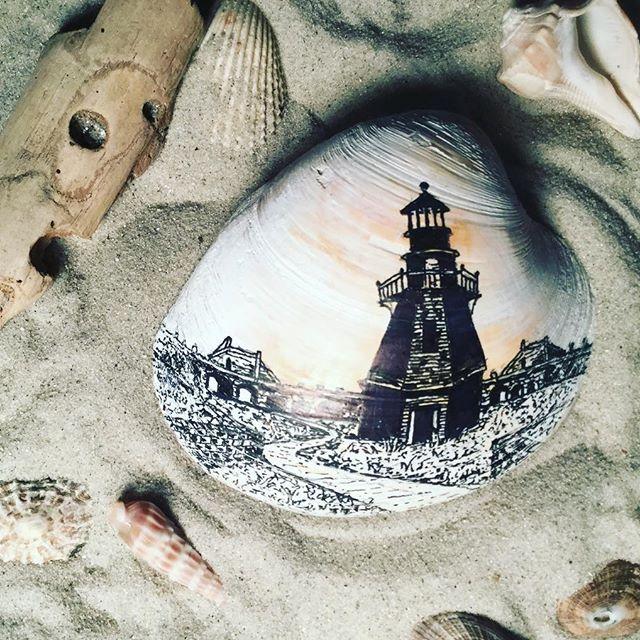 """Fort Jefferson, FL"" ink pen on seashell.  #draw #lighthouse #ocean #beach #create #imagine #coast #florida #seashells #sea #shore #art #drawing #sharktooth #island #illustration #sailboat #sail #architecture #multimedia"