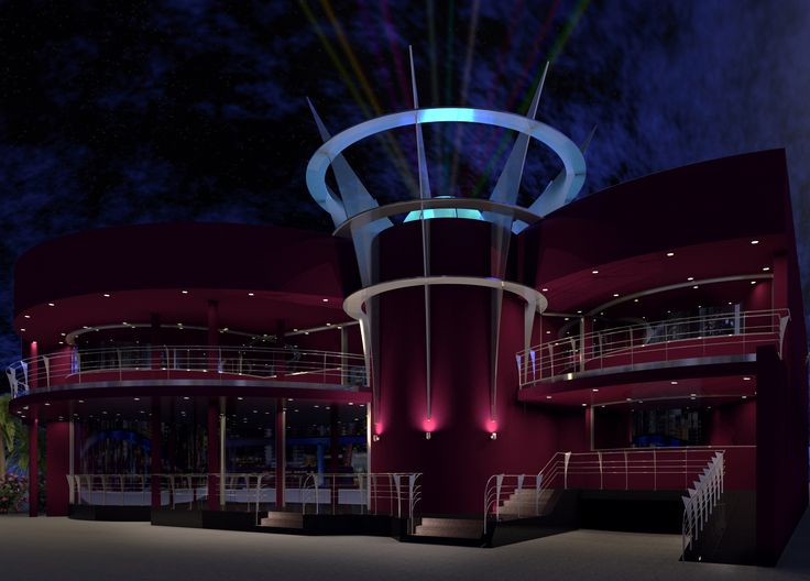 Utopia Nightclub Entertainment Complex Perth WA. Crown holds 16 beam Sky Cannon. Building Design and 2000sqm Interior Design by Peter Carman 2000.