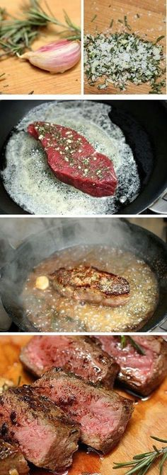 ROSEMARY GARLIC BUTTER STEAK  ~ 4 rump steaks (1 to 1-1/2-inches thick), room temp...2 or 3 cloves garlic...2 T. fresh rosemary leaves...3 T. butter...1 T. olive oil...salt and pepper...splash of white or red wine