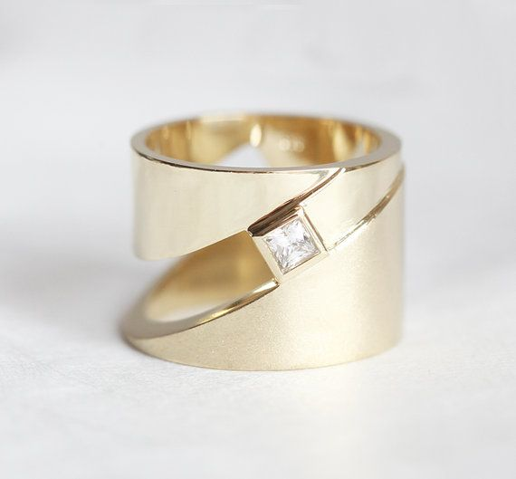 Extra Wide Gold band, Geometric Gold Ring with Diamond