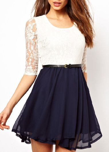 Gorgeous Half Sleeve Color Block A Line Dress | Rosewe.com