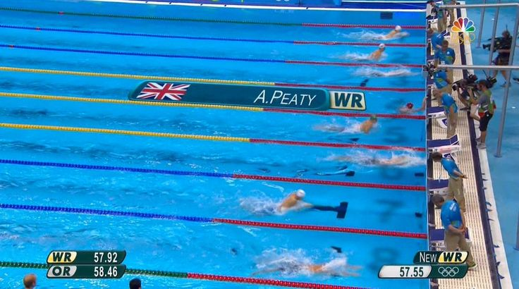 NBC OlympicsVerified account ‏@NBCOlympics  Aug 6 .@TeamGB's @adam_peaty claims the first swimming world record of #Rio2016 in the 100m breaststroke!