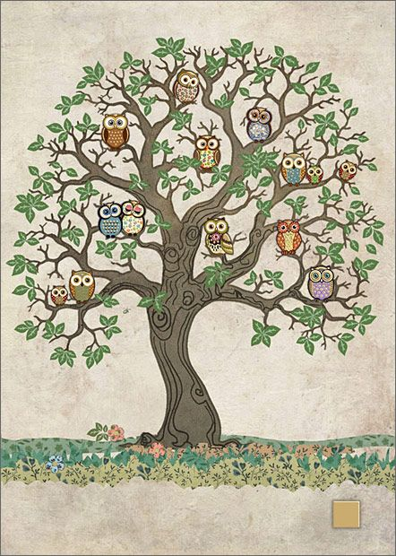 Owls in Tree Card by Bug-Art