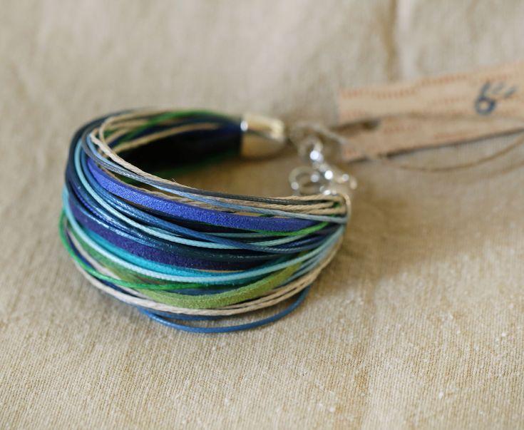 Boho bracelet Hippie bracelet Colorful bracelet Yoga bracelet Blue and green bracelet Woven and braided bracelet Gift for her