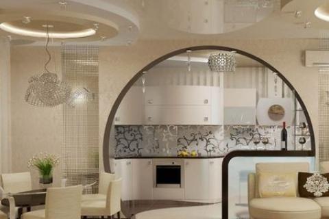 Кухня гостиная с аркой