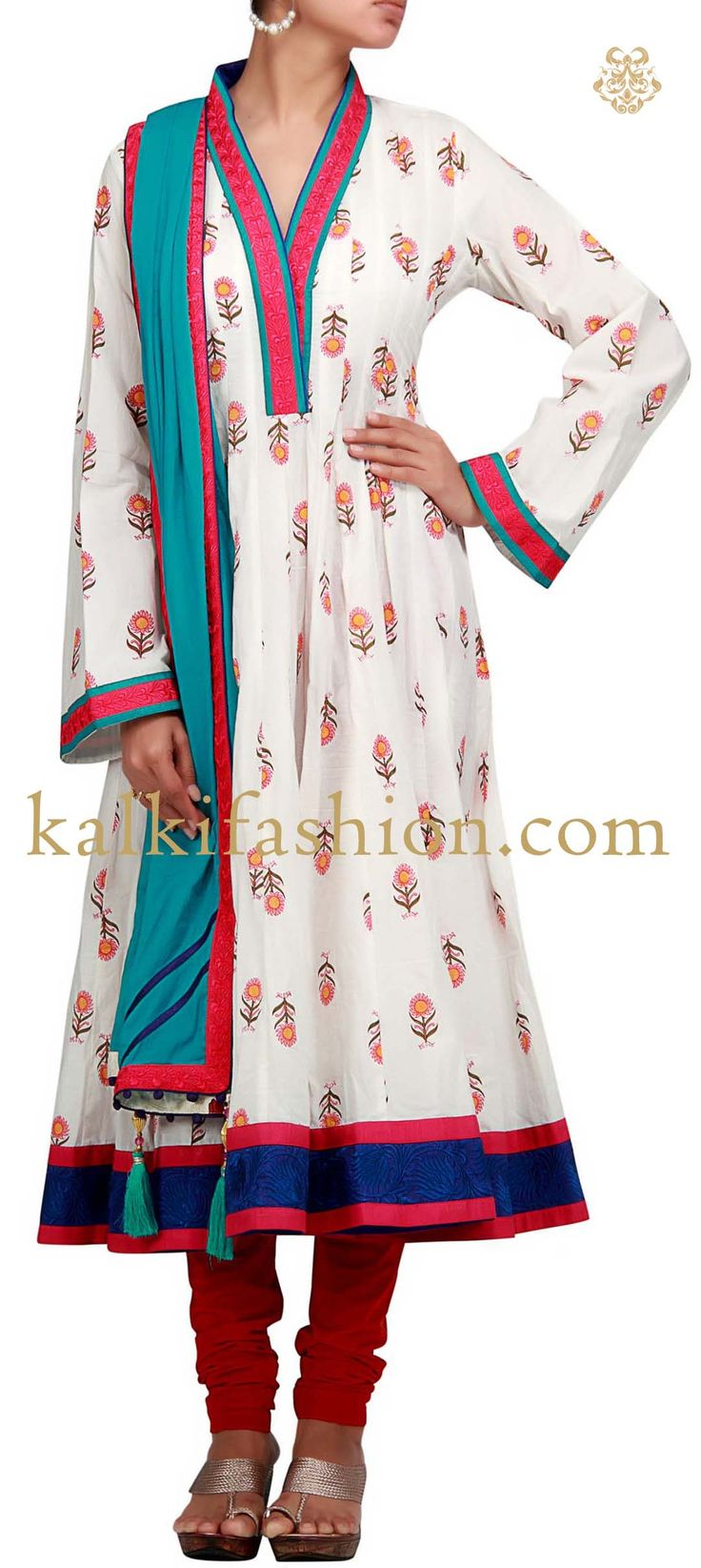 Buy it now http://www.kalkifashion.com/a-white-printed-anarkali-suit-with-bell-sleeve.html A white printed anarkali suit with bell sleeve