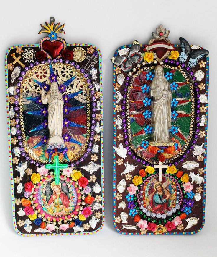 Folk art Rainbow / Jesus statue Altered vintage by TheVirginRose