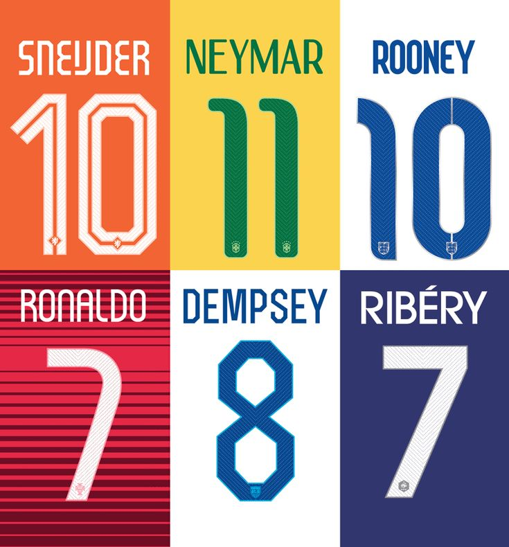 NIKE world cup fonts. NIKE have designed several new fonts for teams playing at this year's FIFA world cup including two collaborations with renowned graphic designers, Wim Crouwel (Netherlands) and Neville Brody (England). via http://www.designboom.com/design/nike-world-cup-fonts-07-01-2014/