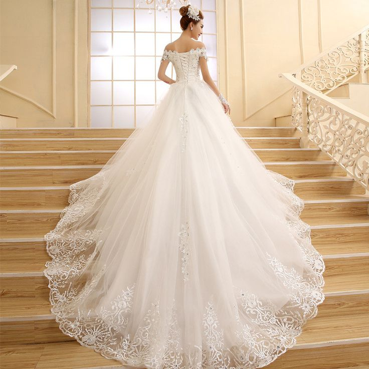 QQ Lover Vestido De Novia Princess White Lace Embroidery Beading Luxury Long Royal Train Wedding Dress