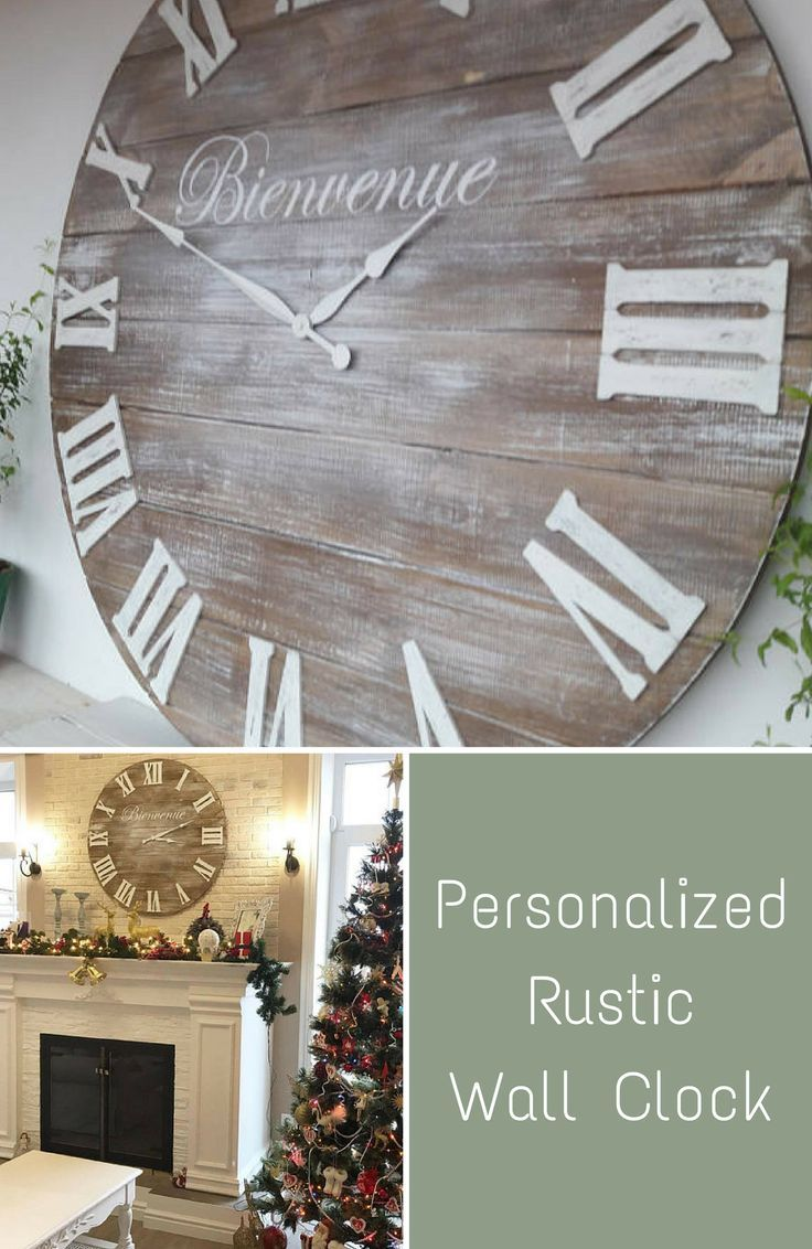 Personalized Rustic Clock Large wall clock 33 inches Rustic decor Wedding gifts for couple #affiliate #homedecor #personalized #homedecorideas #rustic #farmhouse #livingroomdecor