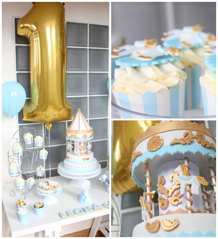 Carousel themed 1st birthday party dessert table with SUCH CUTE IDEAS via Kara's Party Ideas | Cake, decor, cupcakes, recipes, games, and MORE! KarasPartyIdeas.com