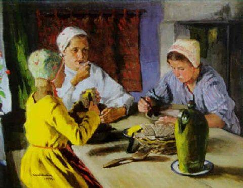 Sam Uhrdin. VID FRUKOSTBORDET. 1937. Olja på duk. 72 x 89 cm.