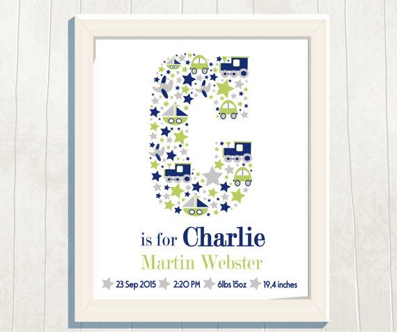 Name Art Print  Birth Stats Birth Announcement by VeryFairyGood