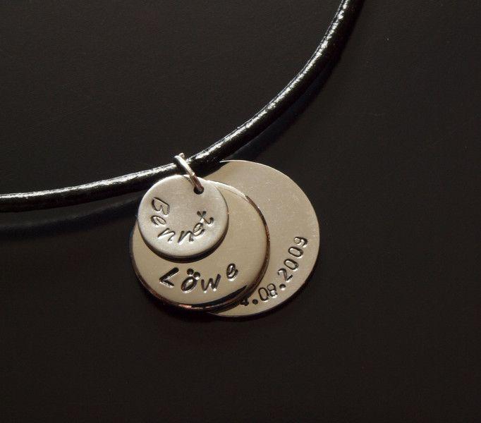 Lederketten - Kette Anhänger Name Datum Text Leder silber Gravur - ein Designerstück von Juvelato bei DaWanda