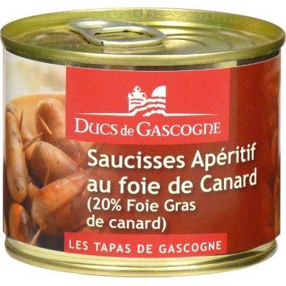 saucisses aperitif au foie gras Ducs de Gascogne sont ideales sur des piques à l'apéritif ou pour une salade composee avec du confit et des gesiers de canard