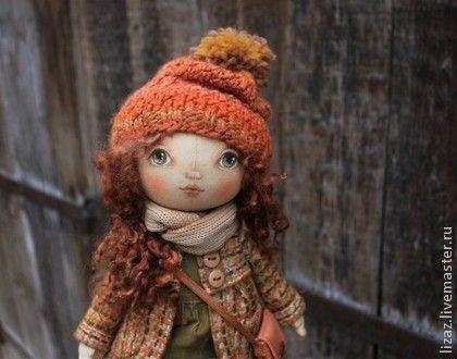 """Серия """"Осенние бусинки"""" - текстильная кукла,тыквоголовка,тыковка,золотой"""