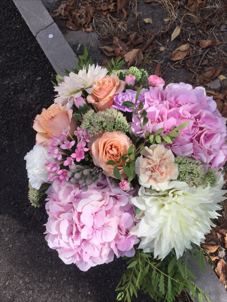 Hydrangea verena pink and peach roses in flowerbox