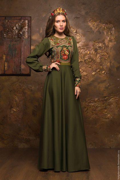 Платье в Русском стиле в макси длине