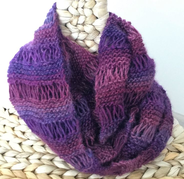 Infinity women scarf, Hand knitted scarf, Winter accessory, Winter wrap, Woolen scarf, Handmade, Warm scarf, Cozy scarf, Plummy color, by justknitted1 on Etsy