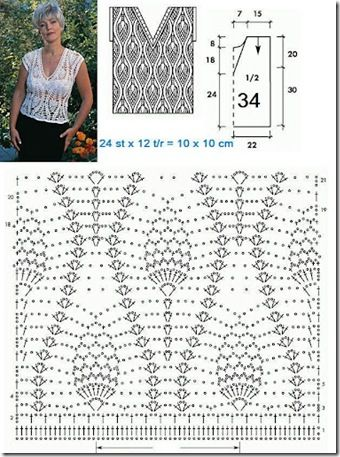 LOTS OF CROCHET TOP PATTERNS - 02 Vertical pineapple design (abicaxi)