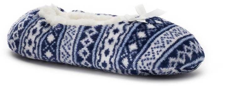 SONOMA Goods for Life Fair Isle Fuzzy Babba Ballerina Slippers Size S-M  #Sonoma #Slippers