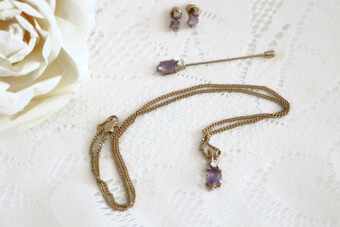 Vintage Dainty full Parure, Genuine Amethyst and clear crystal, on 10K gold plating, Necklace pendant post earrings and hat pin, by ShimmerTreeVintage on Etsy