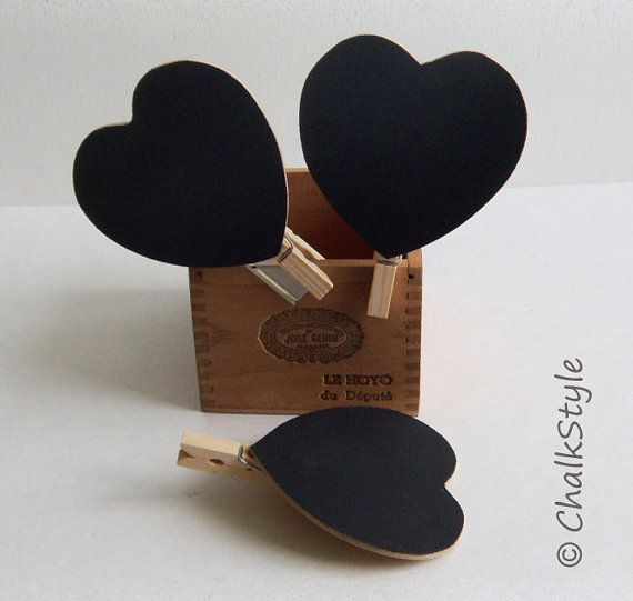 Set of 5 HEART CHALKBOARD CLIPS or Tags for Wedding Table Decor, Name Tags, Table Numbers, Gift Tags, Favor Tags