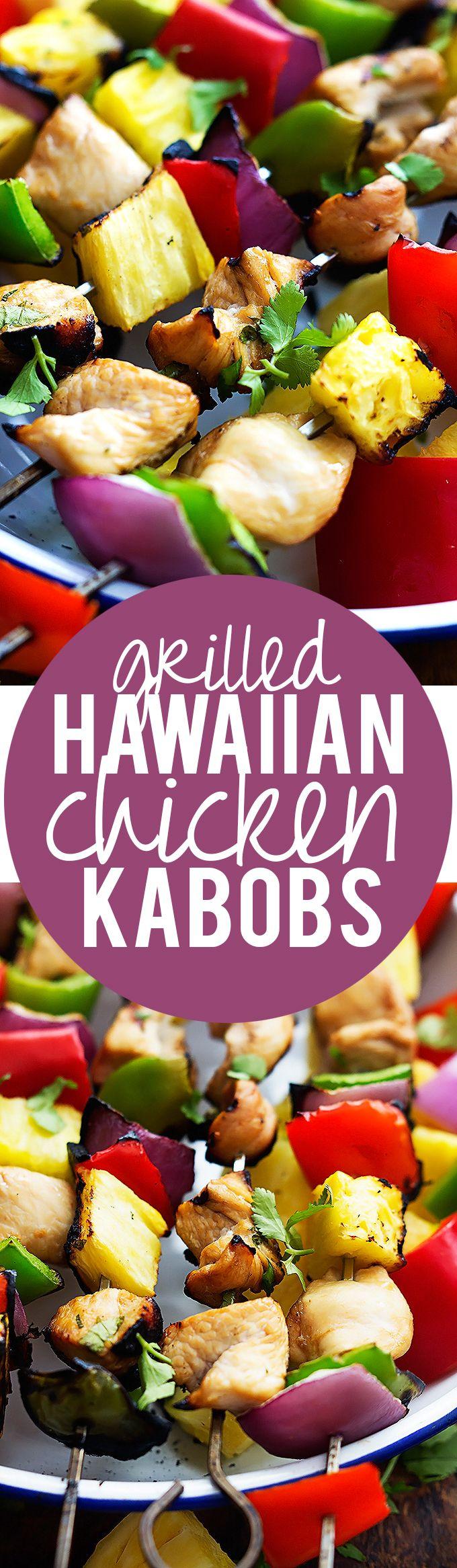 Sweet and spicy Grilled Hawaiian Chicken Kabobs | Creme de la Crumb