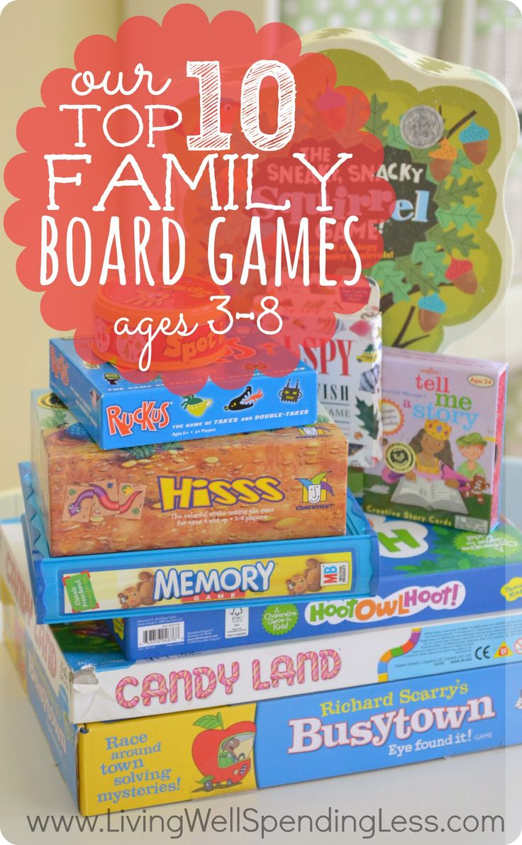 Our Top 10 Family Board Games.  Awesome review of ten wonderful family games that are fun for kids AND adults.  Includes details on each games with ratings by both kids & parents.  What a great resource! http://www.livingwellspendingless.com/2013/06/28/10-best-board-games-for-kids/#_a5y_p=742644